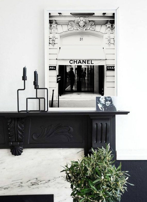 chanel boutique poster 31 rue cambon boutique paris by byoliart. Black Bedroom Furniture Sets. Home Design Ideas