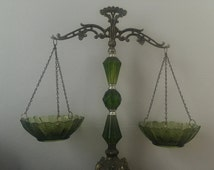 Vintage Scales of Justice Green Glass, Brass, and Marble