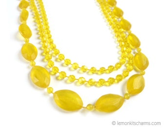 Vintage Yellow Long Multistrand Necklace, Jewelry, Beaded Flapper Style, 1960s 1970s Mod, Lucite Plastic Frosted
