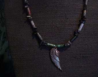 Copper Wing and Gem Stone Necklace