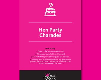 Hen Party Charades - Inuendo Charades Hen Night games, Instant Download, hen party games, hens do games, Bachelorette Party Game