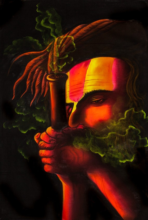 SMOKING SADHU Psychedelic Art Hand Painted UV Handmade