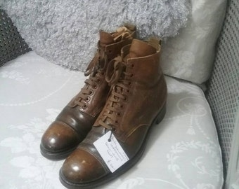 Edwardian gentleman's brown leather dress boots.
