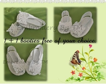 Baby bottie butterfly-lace embroidery machine-two size/1+1free-original baby booties lace design