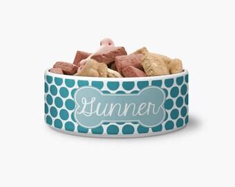 Personalized Polka Dot Ceramic Pet Bowl - Personalized Dog Bowl - Ceramic Bowl - Personalized Bowl - Monogrammed Bowl - Monogrammed Dog Bowl