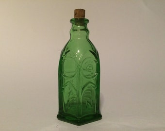 "Vintage Miniature Green 3"" Six-Sided Ink Bottle Church Brand Made In Wheaton, NJ - I will NOT be relisting this item"