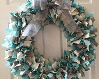 Aqua and Gray Shag Wreath
