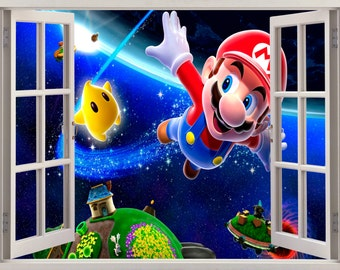 3D Window Mario Wall Decal