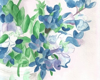 Blue and Violet Flowers Watercolor, Printed Copy