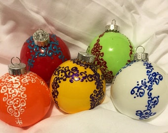 Bohemian inspired christmas decorations (set of 5)