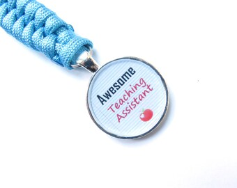 Blue Awesome Teaching Assistant Keyring