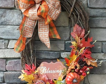 Fall wreath with Blessings