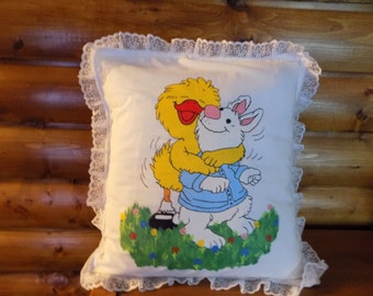 Hand painted pillow case with pillow