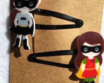 Superhero hair clips  Bat Girl Robin