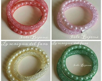 Tubular bracelets with Rhinestones and pearls