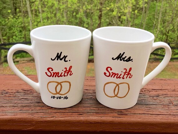his and hers mugs mr and mrs coffee mugs hand painted. Black Bedroom Furniture Sets. Home Design Ideas