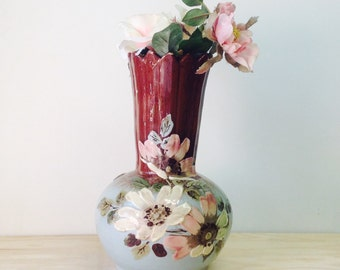 Old vintage ceramic flower vase,hand painted in bold textured flowers
