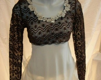 Top woman, strapless lace/crohet of Brown polyester