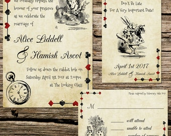 Alice In Wonderland Wedding Invitation Etsy