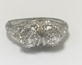 Platinum Two Diamond Ring - Total 1.29 ct. 3.35gm - Dec 2015 Appraisal