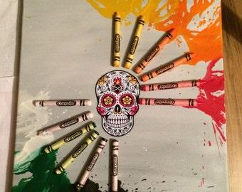 Sugar Skull inspired melted crayon art