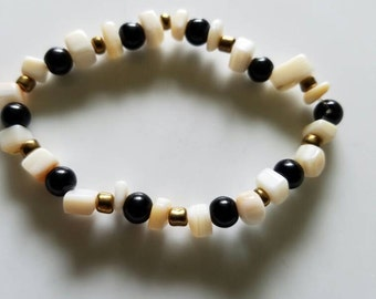 Mother of pearl and blackstone bracelet