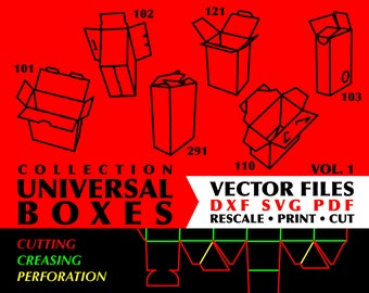 Universal Boxes // Collection of 28 Digital Vector Cutting Packaging Templates in DXF SVG PDF Formats // Vol. 1-5 // Instant Download
