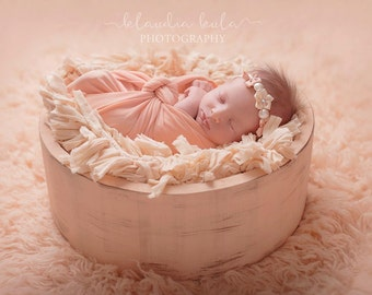 cream distressed wooden bowl newborn toddler photography prop RTS