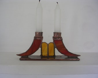 Handmade stained glass candle holder
