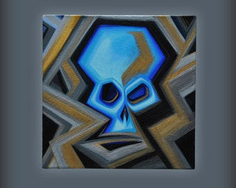 """Abstract Skull Painting, acrylic, 12"""" x 12"""" on stretched canvas, 1.5"""" deep"""