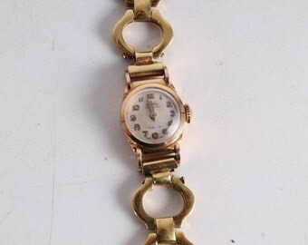 Vintage Old Swiss Made Technos 18k Gold Ladies Wrist Watch.
