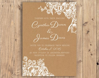 Custom Printable Wedding Invitation Suite