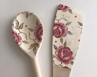 Emma Bridgwater Rose and Bee Decoupaged Spoon and Spatula