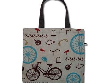 Bicycle(hemp/light grey) Funtote canvas tote bag