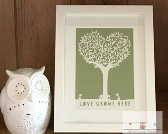 SALE - Commercial Love grows here tree paper cutting template