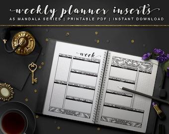 A5 Mandala   Weekly Planner Inserts [Printable Week On Two Pages PDF INSTANT DOWNLOAD]