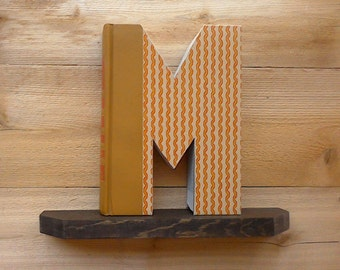BOOK LETTER (M),#242...Ready Made Letter, Cut Book Letter, New Mom Gift, Inexpensive Gift, Room Decor, Book Shelf Decoration, Wedding Gift