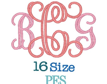 Interlocking Applique Monogram Font 16 Sizes PES Format, Interlocking Applique Monogram Fonts,Monogram Embroidery,Machine Embroidery