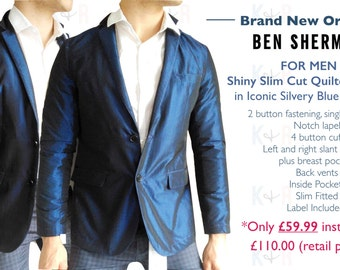 New Men's Shiny Slim Cut Quilted Blazer in Iconic Silvery Blue by Ben Sherman (Size M)