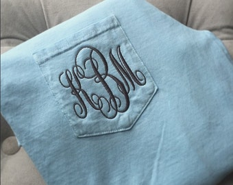 Monogrammed Long Sleeve Pocket Tee - Pigment Dyed