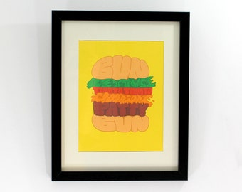 Cheeseburger Typography Art Print