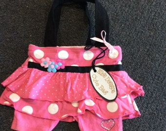 Cute Pink with White Dots Upcycled Hand Bag - Fully Lined Shoulder Bag for that Special Little Miss