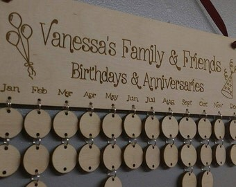 Named Engraved Personalised Wood Birthday Board Anniversary reminder dates