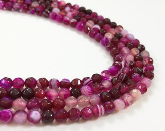 1Full Strand 4mm Agate Faceted Round Beads,Fuchsia Agate Gemstone Beads For Jewelry Making