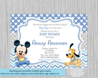PRINTED or Digital Disney Baby Mickey Mouse Baby Shower Invitations, Mickey Baby Shower Invitations, Baby Pluto Baby Shower Invitations