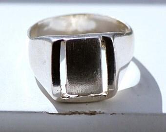 Men's Silver Ring Portuguese Estate Hallmarked From Portugal