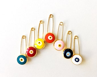 5 pcs  - Evil eye pin, evil eye stroller pin, safety pins, evil eye stroller charm, baby boy pin, baby girl pin, baby safety pin, greek pins
