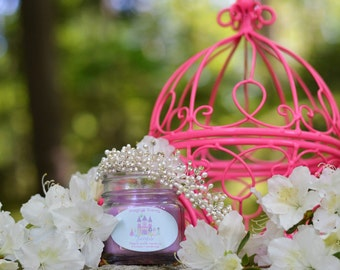 Fairytale ~Disney Inspired Candle~ Sweet Pea & Magnolia. Purple with Pixie Dust glitter.