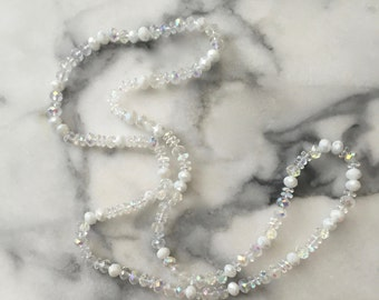 Clear Crystal Long Beaded Necklace