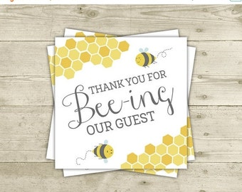 20% OFF SALE - Bee Baby Shower - Favor Tags - Printable Thank You Cards - INSTANT Download
